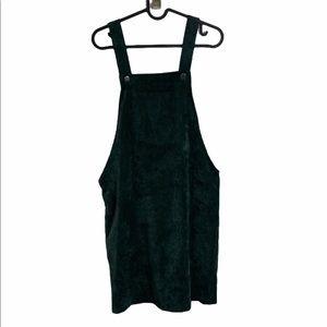 Womens SHEIN Green Corduroy Buckle Front Dress